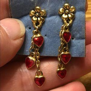 ❤️🌼 Vintage Avon Floral Red Heart Drop Earrings
